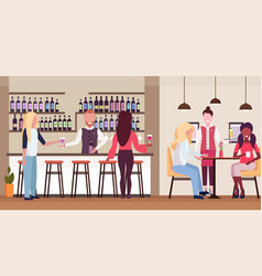 Women standing at bar counter drinking alcohol vector