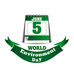 World environment day calendar 5 june vector