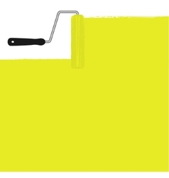 Yellow paint roller painting the wall vector