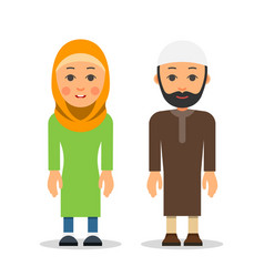 arab or muslim couple woman and man stand vector image