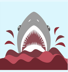 bloody shark with open mouth on the red waves - vector image
