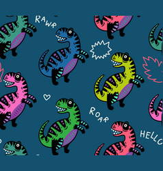 cartoon dinosaurs seamless pattern for kid vector image