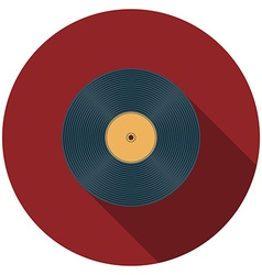 Flat design vinyl record icon with long shadow vector image