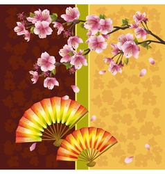 Japanese background with sakura cherry tree and vector image vector image