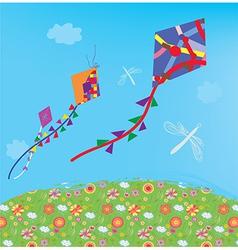 Kites in the sky vector image