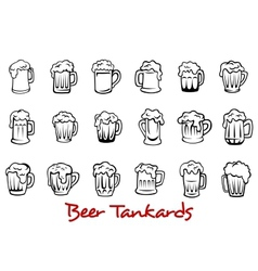 Beer tankards set vector image vector image