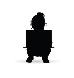 child with a laptop on her lap silhouette vector image vector image