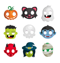 halloween monster head icons vector image vector image