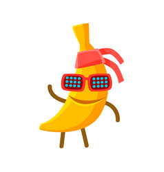 happy smiling banana fruit in sunglasses and vector image