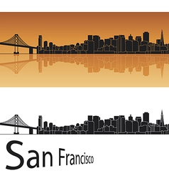 San Francisco skyline in orange background vector image vector image