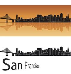 San Francisco skyline in orange background vector image