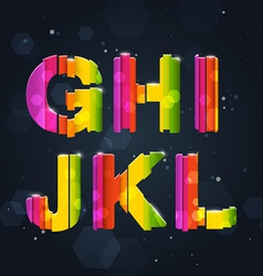 Abstract rainbow font g-l vector