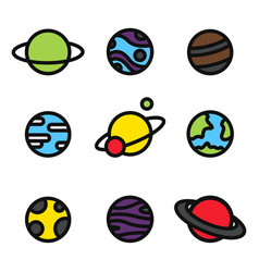 colorful planets bright icons isolated universe vector image vector image