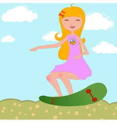 girl riding skateboard vector image
