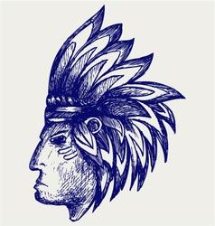 Portrait of american indian vector