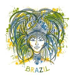 brazilian carnival woman in festival costume vector image vector image