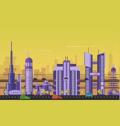 Busy urban cityscape templates with modern vector image vector image
