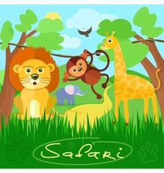 Cute african safari animals vector