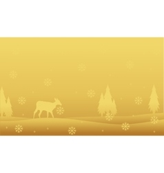 Deer and spruce landscape winter Christmas vector image vector image