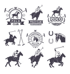 labels set of sport competition for polo games vector image vector image