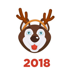 2018 dog year christmas dog head in santa reindeer vector image
