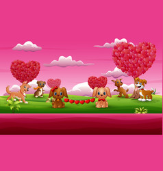 A group of the dog celebration a valentine day in vector