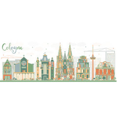 Abstract cologne skyline with color buildings vector