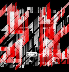 Abstract red shapes colors on a black vector