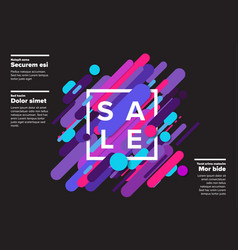 Abstract sale poster made from big color lines vector