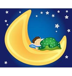 Baboy sleeping on moon vector