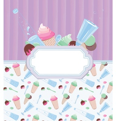 Background with frame with ice cream and candy 2 vector