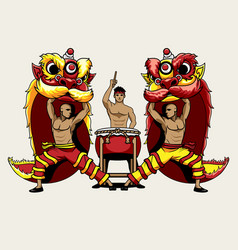 Barongsai lion dancers and a drummer vector