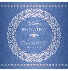 Baroque wedding invitation navy blue vector