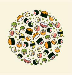big rounded sushi set vector image