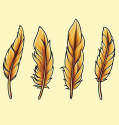 Bird feathers thanksgiving autumn theme vector