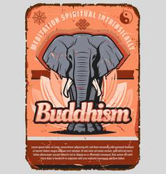buddhism religion elephant lotus yin and yang vector image
