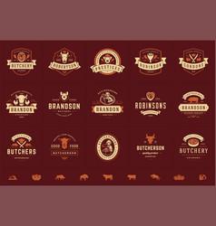 Butcher shop logos set good vector