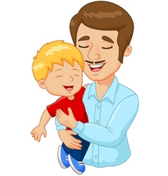 Cartoon happy family father holding son vector image
