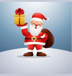 cartoon happy santa claus holding a presents vector image