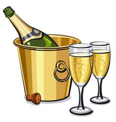 Champagne bottle in bucket vector