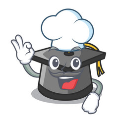 Chef graduation hat character cartoon vector