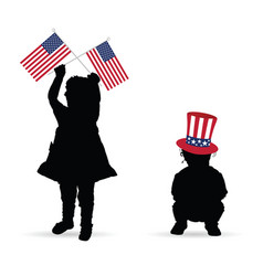 child with american flag and hat vector image