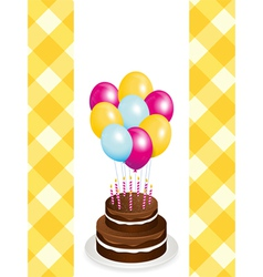 chocolate birthday cake and balloons vector image