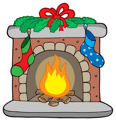 christmas fireplace with stockings vector image