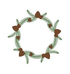 christmas holiday wreath icon vector image