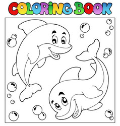 coloring book with dolphins 1 vector image