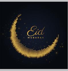 Creative shiny eid mubarak moon design vector