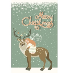 Cute angel hugs reindeer vector image