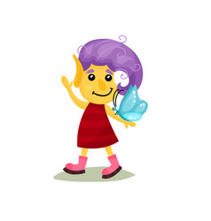 Cute smiling happy girl troll with purple hair and vector