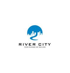 Design logo city river vector